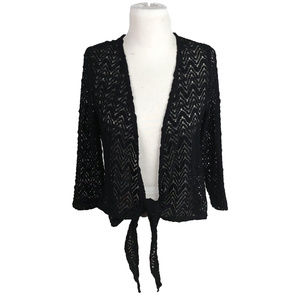 Chico's Travelers Black Lace Tie Front Cardigan L